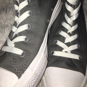 Grey high-top converse size 8, worn once.